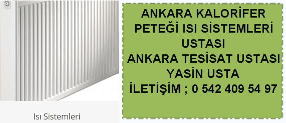 Ankara kalorifer peteği ısı sistemileri tamiri montajı